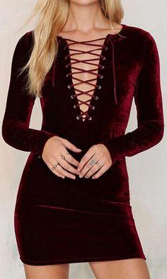 Passionate Persuasion Burgundy Wine Velvet Long Sleeve Plunge V Neck Lace  Up Bodycon Mini Dress Purple 2a44c2d4f