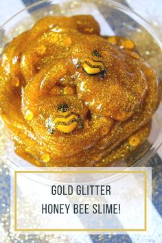 This gold glitter honey bee slime is so much fun for kids to make at home and super easy too! They'll love how realistic the honey slime looks with the cute bees floating around! #glitter #slime #craft #gold