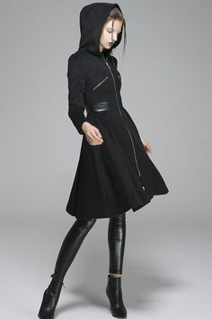Black wool coat winter women coat hooded coat zipper coat warm jacket(1361)