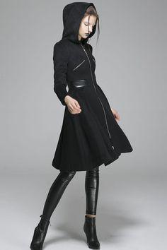 Black wool coat winter women coat hooded coat zipper coat warm jacket(1361)