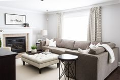 To maximize the size of this family room and allow for plenty of seating , a sectional sofa was chosen.