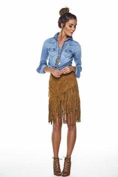 Suede Fringe Skirt - Camel