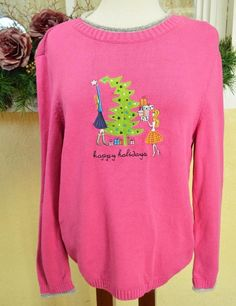 Christopher Banks Happy Halidays Sweater XL Multi Cute Soft Comfy Party Jeans #ChristopherBanks #Crewneck