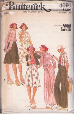 MOMSPatterns Vintage Sewing Patterns - Butterick 4091 Vintage 70's Sewing Pattern COOL Young Designer Willi Smith Flared Bias Swing Back Shirt Jacket Blouse, Skirt, Flared Leg Trousers Size 14
