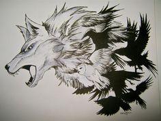 wolf-birds fusion tattoo final by THETROLLESQUE.deviantart.com on @deviantART