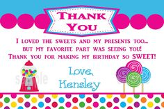 Candy Sweet Shop Birthday Thank You Card by NvitationsByRachelle, $7.00