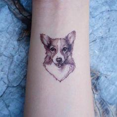 Corgi Tattoo Pet Tattoo Small Tattoo Animal Tattoo sticker temporary tattoo Pink Tattoo Flash Girl Tattoo ideas Korea Tattoo Minimal Tattoo