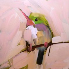tody bird no. 5 digital print from original painting by angela moulton of prattcreekart 4 x 4 inches