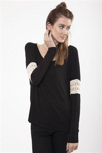 Black Tunic with Lace Detail on Sleeve – Lil Nook Corp