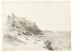 """""""Mount Desert Island,"""" William Stanley Haseltine, 1859, graphite, ink, and wash on paper, 20 1/4 x 28 1/8"""", Smith College Museum of Art."""