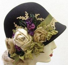 Custom Order for Karen 1920's Vintage Style Black Wool Felt Cloche Hat                                                                                                                                                                                 More