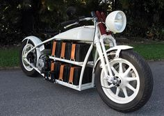 Unique electric motorcycle style: I like how it celebrates the batteries instead of hiding them.