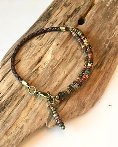 Excited to share this item from my shop: Leather Bracelet Natural Earth Jasper Heishi disc beads Wrap Bracelet Natural Red jasper Stone Wrap Bracelet Boho Leather bracelet Leather Jewelry, Boho Jewelry, Jewelry Crafts, Jewelry Design, Leather Cord, Braided Leather, Jewelry Necklaces, Leather Gifts, Diy Necklace