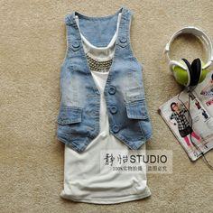 Single-breasted short denim vest