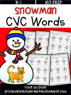 Snowman CVC Words - Students write the CVC word to match the picture on the snowman. Great for literacy centers, word work, homework, morning work, or RTI groups. kindergarten and first grade  $