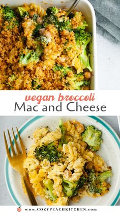 Vegan Broccoli Mac and Cheese is the ultimate comfort food recipe and it's also great for meal prep! A cashew-based vegan cheese sauce is mixed with pasta, broccoli and chickpeas to make this casserole nutrient-packed and comforting. Mac And Cheese Casserole, Vegan Casserole, Casserole Dishes, Hamburger Casserole, Chicken Casserole, Casserole Recipes, Vegetarian Comfort Food, Vegetarian Recipes, Recipe Cover
