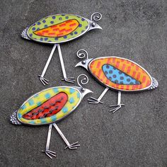 Bird Brooch. Long Legged Quirky Quail Colorful Enamel Brooch. $225.00, via Etsy.