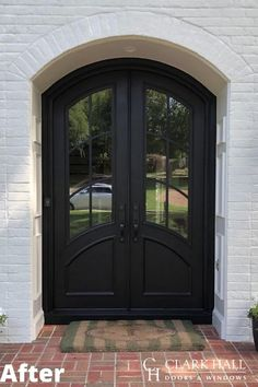 Customize your front or patio entrance with a Clark Hall exterior door. From modern to traditional, our custom made iron doors transform the design of any home. Check out our inspiration page for before and after photos and ideas. Custom Front Doors, Front Doors With Windows, House Front, Double Front Doors, Door Redo, House Exterior, Exterior Front Doors, Spiral Stairs Design, Exterior Door Designs