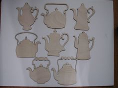 Teapot  Wood Shapes  8 Pieces Assorted Styles by TomaCraftPlace