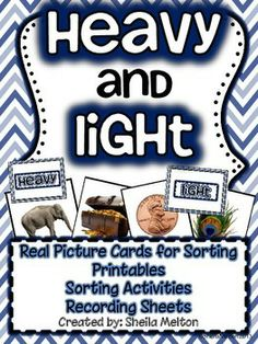 "I love using real pictures in my classroom...and so do my students! This measurement unit includes 24 heavy/light real picture cards and ""Heavy"" and ""Light"" header cards to sort the pictures under. Each set of real pictures come with and without picture labels. These cards are perfect for centers! Several versions of recording sheets and printable activities are included. $ #math #measurement #education #mathcenters #heavy #light #tpt #teacherspayteachers #sheilamelton"