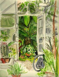 Tropical House Doorway, via Flickr. Tropical Art, Tropical Houses, University Of Northern Iowa, Cedar Falls, World Best Photos, Doorway, Watercolor, Photo And Video, Painting Flowers