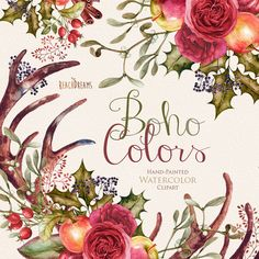 Watercolor Boho Clipart. Flowers Wreath and by ReachDreams on Etsy