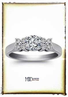 Duo Floral Diamond Engagement Ring