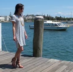 Inari Dress, Named Patterns in navy and white stripes | Sew Busy Lizzy
