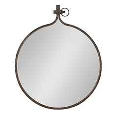 Kate and Laurel Yitro Round Industrial Rustic Metal Framed Wall Mirror, 23.5x28.5, Rustic Metal, Chic Industrial Acce...