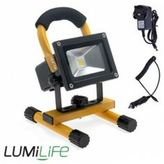Portable and Rechargeable 10 Watt Flood Light (12 Volts) Cool White