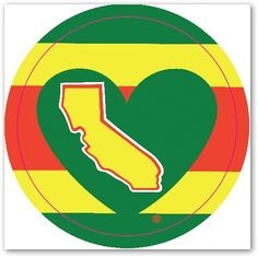 One Love Rainbow California Heart Decal - pinned by pin4etsy.com