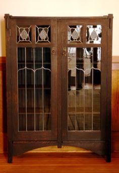 leaded glass bookcase- 2 door Stickley Bros. book shelf   Mission   Oak   Craftsman   Bungalow