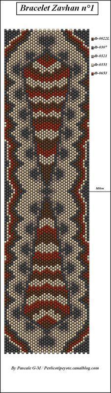 Bracelet Zavhan by Pascale/perlicoti #beading #beadwork #pattern #mosaic #peyote Peyote Beading Patterns, Peyote Stitch Patterns, Beaded Bracelet Patterns, Bead Loom Patterns, Loom Beading, Beaded Bracelets, Beaded Banners, Fabric Beads, Brick Stitch