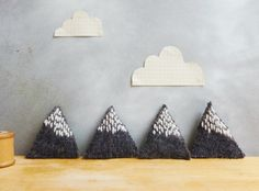 Mountain Brooch Recycled Wool with Embroidery - Blue Grey Marl & White Snow - Geometric Triangle. £6.50, via Etsy.