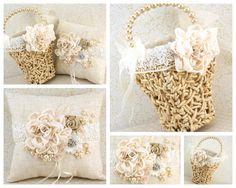 Ring Bearer Pillow and Flower Girl Basket in Ivory by SolBijou, $180.00