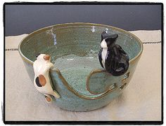 Yarn Bowl with Cute Tuxedo cat and Calico Cat in by misunrie, $40.00
