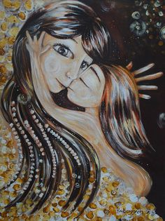 mother and child painting on canvas - Feed My Soul - ORIGINAL 30x40 Acrylic Motherhood Painting