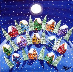 Winter Folk Art Peace on Earth Snow Painting