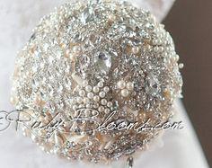 "Champagne Wedding Brooch Bouquet. Deposit - ""Nude Champagne"" Crystal Heirloom Bridal Broach Bouquet by Ruby Blooms Wedding"