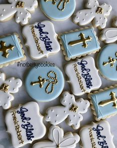 55 Ideas Baby Boy Baptism Cookies First Communion Baptism Desserts, Baptism Cupcakes, Boys First Communion, First Communion Cakes, Baby Boy Baptism, Baptism Party, Christening Cookies, Christening Gowns, Pear And Almond Cake