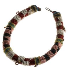 Africa   Neckband from the Zulu or Xhosa people of South Africa   Early 20th century   Glass beads, rolled around a core of hide and with brass button terminals African Trade Beads, African Jewelry, Ethnic Jewelry, Jewelry Art, Jewellery, Hippie Chic Fashion, Xhosa, African Culture, Zulu