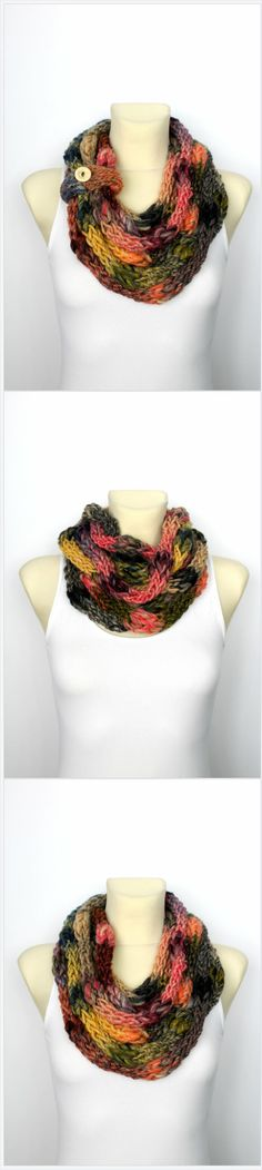 Let me introduce to you one of a kind designer scarf-necklace in rainbow colors.This women fashion accessory is something totally different than what you may have seen before.It is handmade from the beginning to the end so you can be sure that the quality is the highest you can get.Also it isn't mass produced!Take a closer look how cool the yarn looks like!It is thick and thin! Absolutely brilliant! Click through to see more or save it for later!