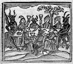 Witches presenting wax dolls to the devil, featured in The History of Witches and Wizards / (Wellcome Library) Jon Crabb on the witch-craze of Early Modern Europe, and how the concurrent ris… Medieval Witch, Medieval Art, Witch History, Maleficarum, Traditional Witchcraft, Mystery, Witch Art, Gothic Art, Macabre