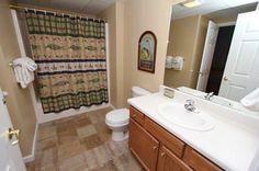 Condo 244-Fish Themed Bathroom. #RPMCondos #WhisperingPines #PigeonForge #GSMNP #Vacation