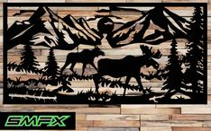 Large moose Scene Metal wall art rectangle can be a railing insert or just wall art