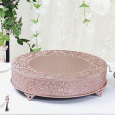 "22"" Rose Gold Round Embossed Metal Cake Stand Wedding Cake Stands, Wedding Cake Toppers, Wedding Cakes, Cake Table, Dessert Table, Metal Cake Stand, Elegant Centerpieces, Elegant Cakes, Round Cakes"