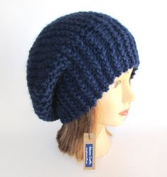 Beret style hat - slouch hat - navy hat for women - handknit hat - chunky knit hat - fashion accessory - warm winter hat - wool knit beanie by Johannahats on Etsy https://www.etsy.com/listing/212680916/beret-style-hat-slouch-hat-navy-hat-for