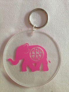 Items similar to Monogrammed Elephant Keychain on Etsy Elephant Room, Elephant Stuff, Elephant Keychain, Theta, Retail Therapy, Sorority, Vehicle, Greek, Cricut