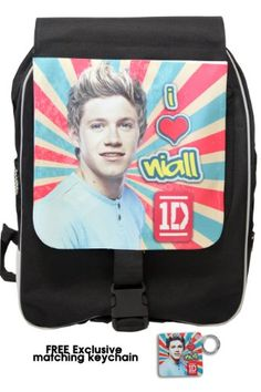 """One Direction Large Backpack, """"Niall Horan in Retro"""", Limited Edition with Free Exclusive Keychain One Direction Gifts, One Direction Merch, I Love One Direction, Niall Horan, First Love, Lunch Box, Backpacks, Amazon, Retro"""