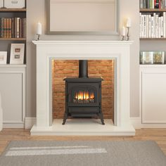 The Odella micro marble inglenook surround is beautifully complimented by a gas or electric stove at its centre. Available in Manila, Grey or White. Gas Wood Burner, Wood Burner Fireplace, Marble Fireplace Surround, Fireplace Surrounds, Fireplace Design, Wood Burning Stoves Uk, Wooden Fireplace, Fireplace Kitchen, Wood Stoves